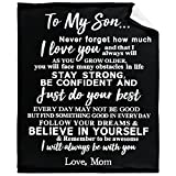 WONDERWON to My Son Blanket from Mom Gifts for Son Throw Blankets with Strength Courage Words,Super Soft Flannel Fleece Quilt,Perfect for Personalized Birthday Christmas Black 50'X40' for Baby