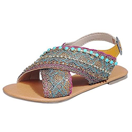 Señoras Gladiador Casual Correa cruzada Rebordear Zapatos planos de verano para mujer Estilo étnico al aire libre Sandalias de moda de playa bohemia