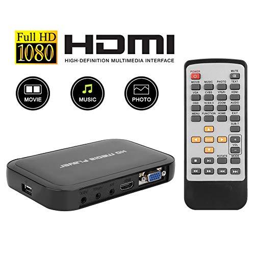 Diyeeni Media Player met HD Mainstream-Chip HDMI, HDMI 1080P HD Multimedia Player met automatische inschakel-weergavefunctie geschikt voor beurshallen, hotels en reclamebedrijven