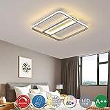 ZZOOK Luster Led Modern Lampe Wohnzimmer Deckenleuchte Mediterrane Natürliches Eckig Acryl Eisen...