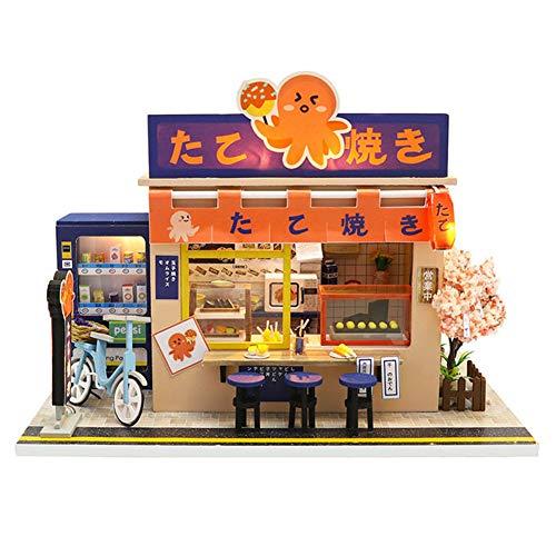 erhumama Polpo Brucia Giapponese Negozio In Miniatura Casa delle Bambole LED Kit di Luce Assemblato Puzzle Giocattolo Modello FAI DA TE Bambini Bambini Natale Regalo Di Compleanno