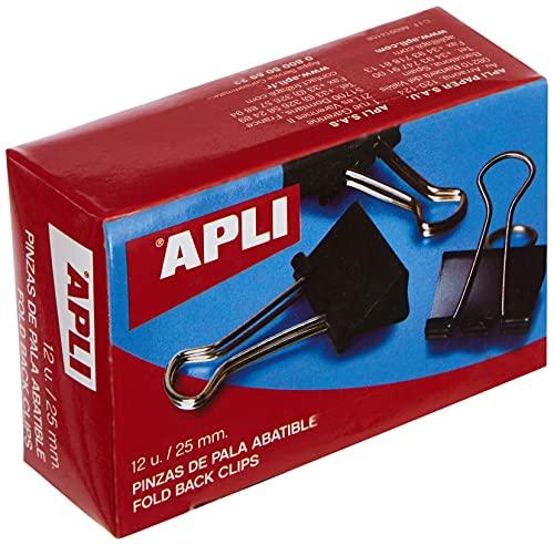 Apli 11949-Pack de 12 pinzas palas abatibles, 25 mm, color negro