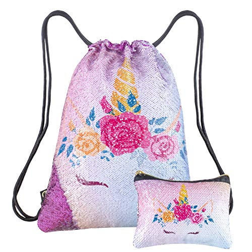 Xiaowli Unicorn Gifts Sequin Drawstring Backpack with Unicorn Pouch Sets School Dance Bags for Girls (A purple)