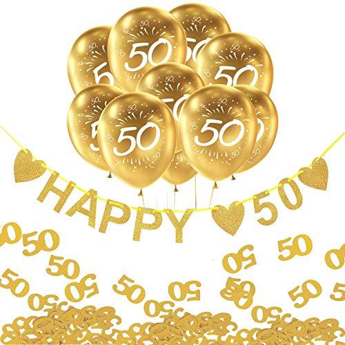 Oblique Unique® 50. Geburtstag Goldene Hochzeit Party Feier Deko Set - Happy 50 Girlande + Luftballons Zahl 50 + Konfetti Zahl 50 - Gold Weiß