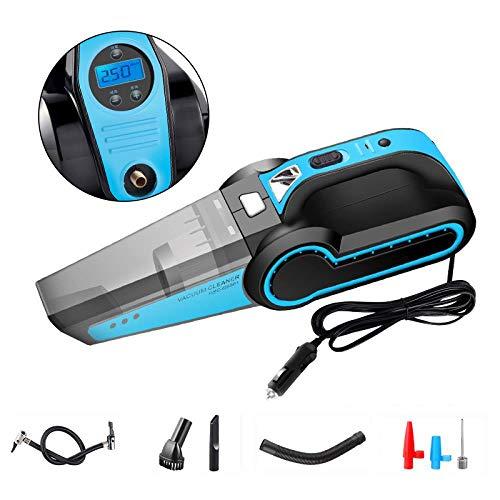 CWSFD 4-in-1 autostofzuiger, 120-watt-auto-luchtpomp, high-performance en natte stofzuiger, 360 graden uitlaatgassaansluiting, geluidsarm, digitaal display, blauw