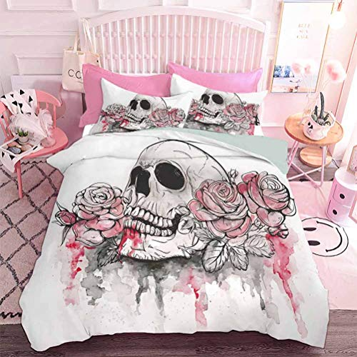 Hiiiman Home Decor Textil Estampado Calavera Muerto con Rosas Románticas Celebración Día Festivo (3 unidades, tamaño completo) 1 Funda de edredón y 2 fundas de almohada