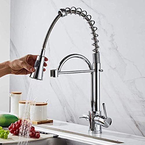 DXDUI La manija Doble se Puede Girar 360 ° Grifo de Agua fría y Caliente, toques de Fregadero de Cocina de Plata de Plata, Grifo Mezclador de cuencas