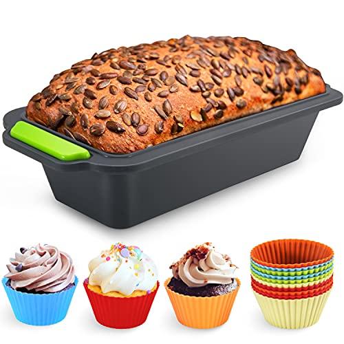 Familybox Moule à Cake rectangulaire avec Moules à Muffin, Set à Pâtisserie Anti Adhérent Silicone - 29.2 x 12.8 x 6.2 cm - 11 pièces