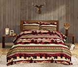 Moose Lodge Lightweight Quilt Set Queen(90 X 90in.) Striped Grizzly Bear Deer Pine Trees Quilted Bedspread Coverlet Bedding Set,Rustic Cabin Reversible Summer Comforter Blanket Bed Cover(Queen,Black)