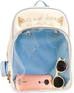 Fashion Backpack Transparent Ita Daypack School Bag for Pins Toys Display Bag Blue