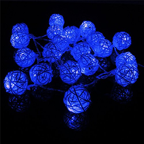 I LOVE DIY 2.2M Guirlande Lumineuses 20 Boule LED Guirlandes Batterie Rotin pour Noël, Mariage, Patry, Decoration Maison (Vert)