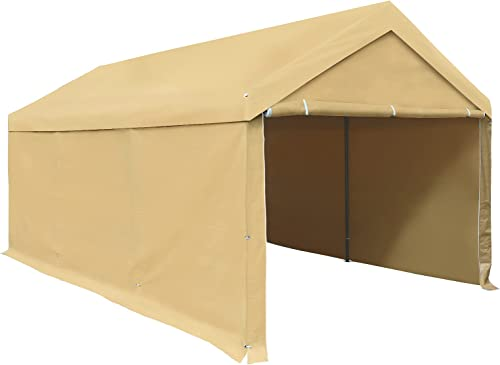 new arrival Carport, Carport Tent, sale 10 x 20 ft Heavy Duty, Removable Sidewalls and Doors, Car Canopy for Boat&Market lowest Stall, Auto, 180g PE Tarp, Single Package, Beige sale