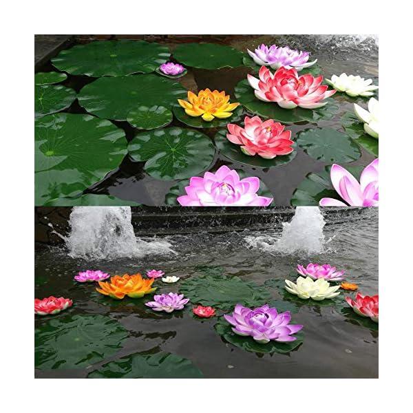 8 Piezas Lirio Agua Artificial Flotante Estanque, a Prueba de Agua Flor Loto para Los Amantes y Los Niños, Se Aplica a…