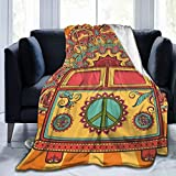 NDZHZEO Throw Blanket Hippie Vintage Mini Van Peace Sign Lightweight Soft Cozy Fleece Bed Blanket fit Office Home Couch Sofa Suitable for All Season 50'x40'
