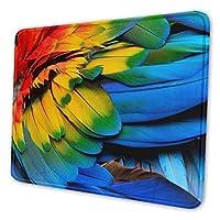 カラフルな鳥の羽 マウスパッド 中型 ゲーム用 ステッチエッジ滑り止め防水 耐久性 デスクトップパソコン マウスパッド 小さい 22*18cm