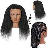 Mannequin Head with Human Hair Manikin Head 14 inch 100% Real Hair Doll Head for Hair Styling Salon Training Head Cosmetology Braiding Practice Hair Mannequin Head Hair Styling Training Head Afro Mannequin Head for Braiding Practice Mannequin Head (14 Inches)