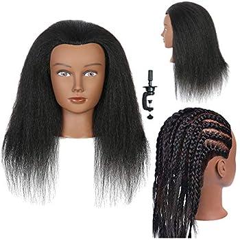 Mannequin Head 14 inch 100% Real Hair Doll Head for Hair Styling Salon Training Head Cosmetology Braiding Practice Mannequin Manikin Head Hairdresser  14 inch