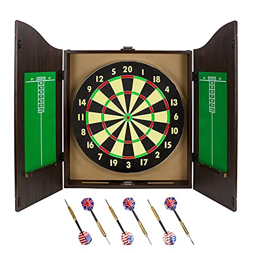 "HUWENJUN123 Solid Wood Bristle Dartboard Cabinet Set, Includes 18"" Dartboard and 6 Steel tip Darts Marker Storage Panel, Classic Dartboard with Cabinet"