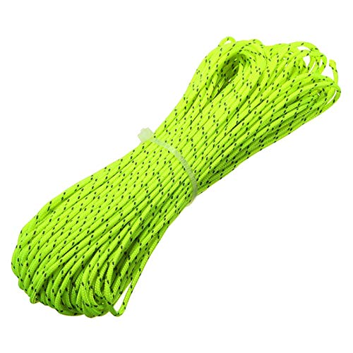 Threebulls 1. 8mm fluorescent reflective guyline tent rope camping cord paracord 65 feet (green, 20m)