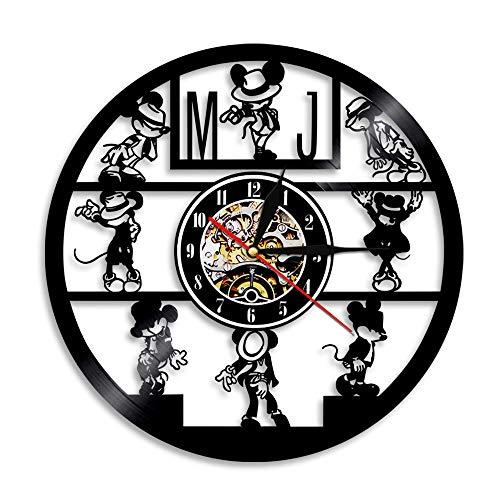 Mickey Mouse De Disney Reloj de Pared Grande Salon 30cm Reloj de Pared de Vinilo,Reloj de Pared Silencioso Modernos,Reloj de Pared de Cuarzo Decoración para Oficina Bar Restaurante Negro 8