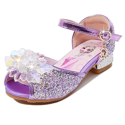 AIYIMEI Fille Cristal Fleur Chaussures de Princesse Elsa Talons Plats Paillettes Déguisement Argenté Bleu Rose Doux Halloween Noël Anniversaire Carnaval Cosplay EU23-37