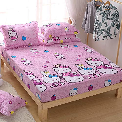 Sábanas ajustables de algodón estilo princesa de dibujos animados, colchas antideslizantes acolchadas gruesas para niños, regalos para niños-Happy_cat_150cm * 200cm + 30cm (profundidad) (3 piezas)