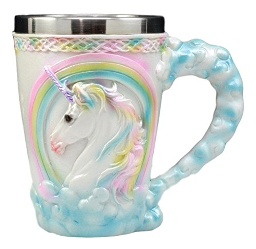 Ebros Gift Sacred Heavenly Rainbow Unicorn Mug 12oz Celtic Knots Rim Magical Elixir Of Youth Beer Stein Tankard Coffee Cup Drink 5'H