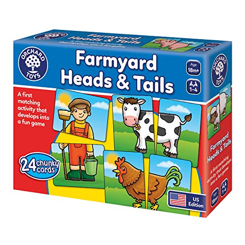 ORCHARD TOYS Farmyard Heads and Tails Game Colorful and Fun Matching Game for Younger Players Perfect for Home Learning Develops Memory Skills for Ages 18 Months and Up