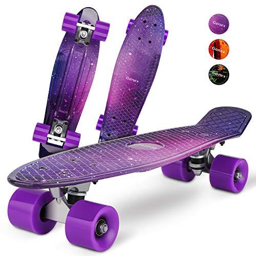 Gonex 22'' Skateboard Planche à roulettes, 4 roulettes PU, Table en Plastique Renforcé, Mini Cruiser Roulement ABEC-7, pour Fille Garçon Adulte