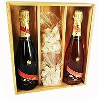 champagne mumm - cordon rouge/rosé & 2 * 150 grammi white nougadets - jonquier deux frères - in scatola di legno