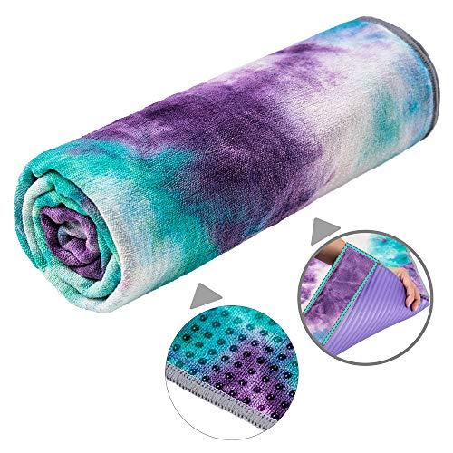 adorence Yoga Handtuch rutschfest Noppen (verbesserte PVC-Griffe + Seitentaschen) Mikrofaser Schweißabsorbierend & Schnelltrocknendes Mattenhandtuch - Ideal für Hot Yoga, Pilates und Workout