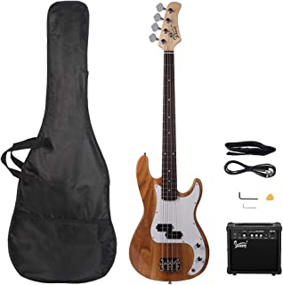 GLARRY Full Size Electric Bass Guitar Beginner Kit 4 String Exquisite Basswood Bass with 20W AMP, Cable, Strap, Bag and Ac...