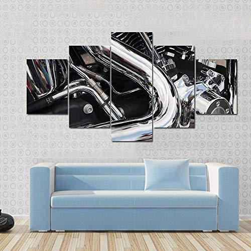 GSDFSD Cuadro En Lienzo 200X100 Cm Primer Plano De Un Gran Motor De Motocicleta Brillante Impresión De 5 Piezas Material Tejido No Tejido Impresión Artística Imagen Gráfica Decoracion De Pared Ciudad