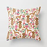 FJPT Throw Pillow Cover Vizsla Florals Dog Pattern Dog Gifts Dog Breeds Pet Portraits by Pet Friendly Cotton Pillowslip for Sofa Bed Stand Size Pillowcase 18x18 Inch