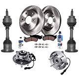 Detroit Axle - 4WD Front CV Axle Wheel Hub Bearing Assemblies + Brake Rotors Ceramic Brake Pads Replacement for Ford F-150 Lincoln Mark LT - 10pc Set