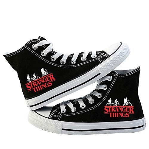 Godmoy Stranger Things Shoes Unisex-Segeltuchschuhe Niedrige Sneakers/Hi-Top-Sneakers Stiefeletten Scoops Ahoy Freizeitschuhe mit Schnürsenkeln Stiefel Schwarz