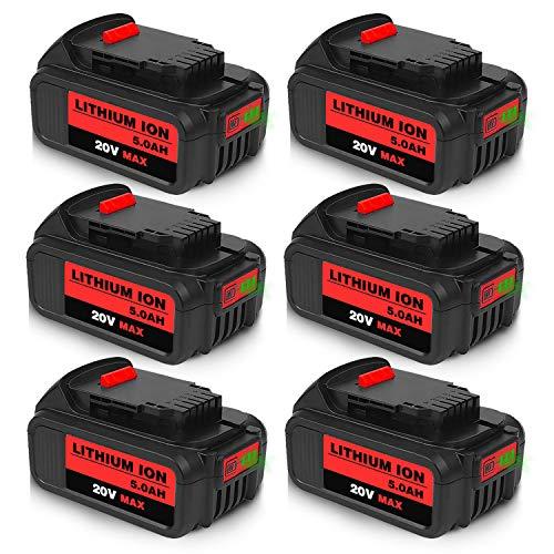 Product Image 1: 6Packs 20Volt 5.0Ah DCB204 DCB205 Replacement Battery for Dewalt 20V Battery Lithium XRP Compatible with DCB204 DCB205 DCB206 DCB205-2 DCB200 DCB180 DCD985B DCD771C2 DCS355D1 DCD790B