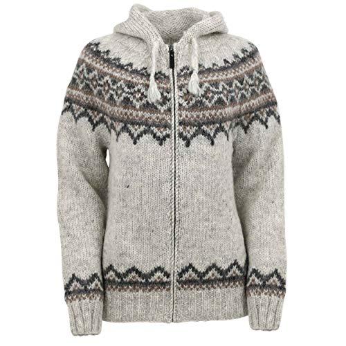 ICEWEAR Damen-Brynja-Strickjacke aus 100% Islandwolle mit Rundhalsausschnitt, Reißverschluss und Kapuze| nordisch inspiriertes traditionelles Lopapeysa-Muster |Vier Farbgebungen (M, Aschgrau)