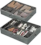 Under Bed Shoe Storage Organizer Set of 2,Sturdy Linen Underbed Shoes Container Fits 12 Pairs shoes and 4 Pairs Boots,with Clear Window and Handles for Kids and Adults Shoes