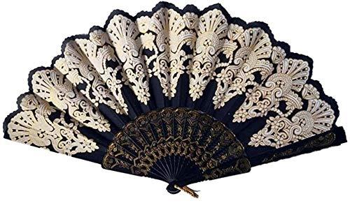 Opvouwbare ventilator,Retro zwarte mode opvouwbare gouden blokkerende dansende ventilator Delicate ambachtelijke decoratie Fan cadeau