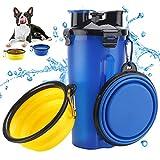 Bottiglia d'Acqua per Cane Portatile Cani Gatto Animali,2 Silicone Ciotola Pieghevole per Cane Abbeveratoio Portatile in Silicone Alimentare Viaggio Blu