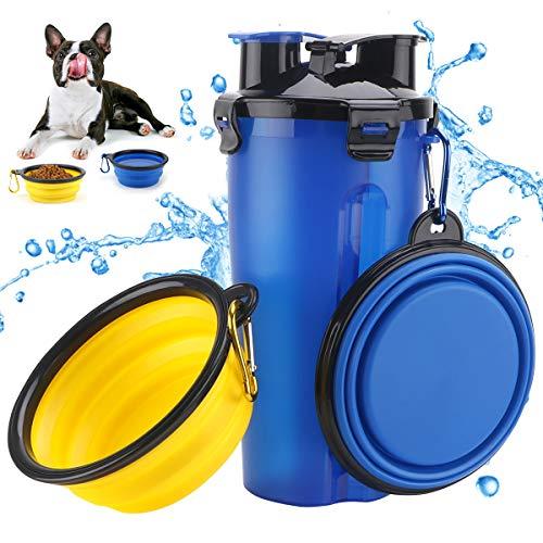 Botella de Agua para Perros Portatil Envase de Comida para Perros Un Conjunto de 2 Plegable Tazones para Perros Gatos Mascotas Adecuado para al Aire Libre, Caminar, Viajar Azul