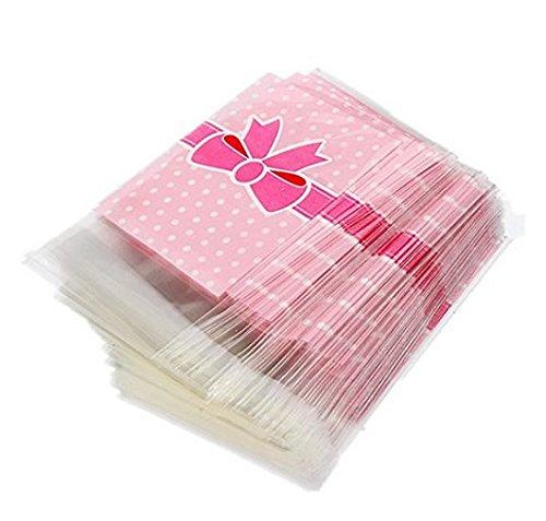 Deanyi 100 X Sac Sachet Pochette De Bonbons Biscuit En Plastique Noeud A Deux Boucles-Rose produits Pour Bébés/Maison