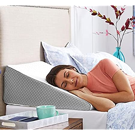 FITNESS INDIA™ Medical Memory Foam Wedge Pillow (20x18x11 Inch) Orthopedic Lumber Support Pregnancy Pillow, Relief from Acid Reflux, Post Surgery, Snoring, Back Sleepers