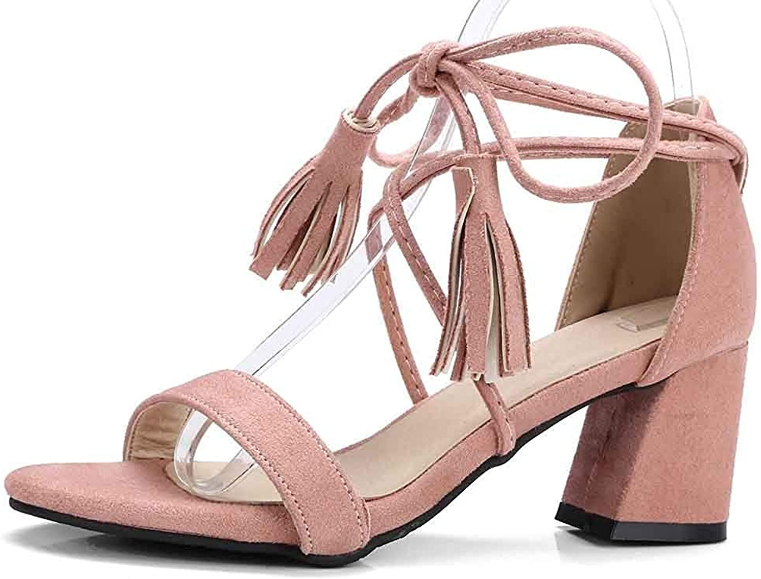 Unm Women's Sandals with Ankle Strap - Tasseled Mid Chunky Heel Lace up - Open Toe Dressy Self Tie