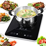 NutriChef Electric Induction Countertop Cooker - 1500W Professional  120V Digital Ceramic Cooktop Single Burner w/ Kids Safety Lock - For Stainless Steel, Cast Iron, / Magnetic Cookware - AZPKSTIND24