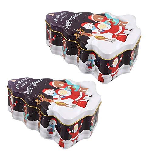 Hemoton 2 Pezzi di Lattine per Biscotti di Natale Set di Scatole di Caramelle in Latta a Forma di Albero di Natale Lattine Vuote per Feste di Natale Bomboniera Goody Treat Tea