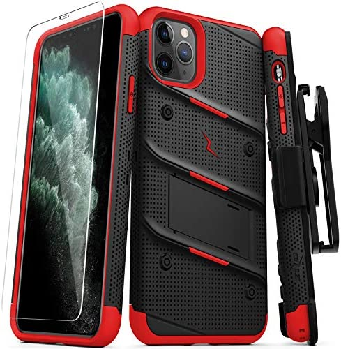 ZIZO Bolt Series iPhone 11 Pro Max Case – Heavy-Duty Military-Grade Drop Protection w/Kickstand Included Belt Clip Holster Tempered Glass Lanyard – Black/Red