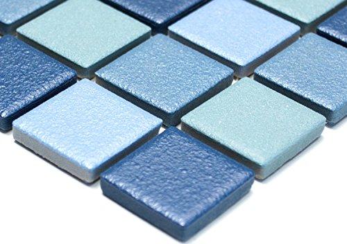 Mosaik Quadrat mix blau rutschhemmend R10B Keramik rutschsicher trittsicher anti slip rutschfest Duschtasse Boden Küche Bad WC, Mosaikstein Format: 2,5x2,5x6 mm, Bogengröße: 60 x 100 mm, 1 Handmuster ca. 6x10 cm