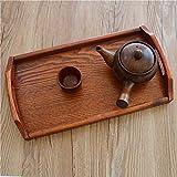 Bandeja rectangular de madera con asa para el oído Bandeja de té simple y moderna Bandeja de tablero de madera sintética-Pequeña 39 * 22.8 * 2.5